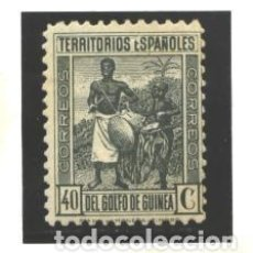 Sellos: GUINEA E. 1941 - EDIFIL NRO. 266 - INDIGENAS - 40C. GRIS VERDOSO -NUEVO SEÑAL TIEMPO. Lote 96038019
