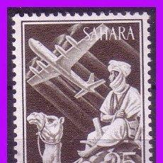 Sellos: SAHARA 1961 INDÍGENA Y AVIÓN EN VUELO, EDIFIL Nº 189 * *. Lote 96321243