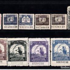 Sellos: LOTE 10 FISCALES -IMPUESTO DEL TIMBRE - MARRUECOS . Lote 97132935