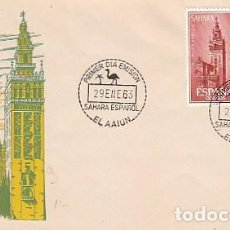 Sellos: SAHARA EDIFIL 215/6, AYUDA A SEVILLA, PRIMER DIA DE 29-1-1963, SOBRE DEL SFC. Lote 98477027