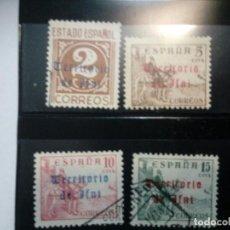 Sellos: IFNI. 4 SELLOS USADOS Y NUEVO. AÑO 1949. CON SEÑAL DE FIJASELLOS. Lote 103989027