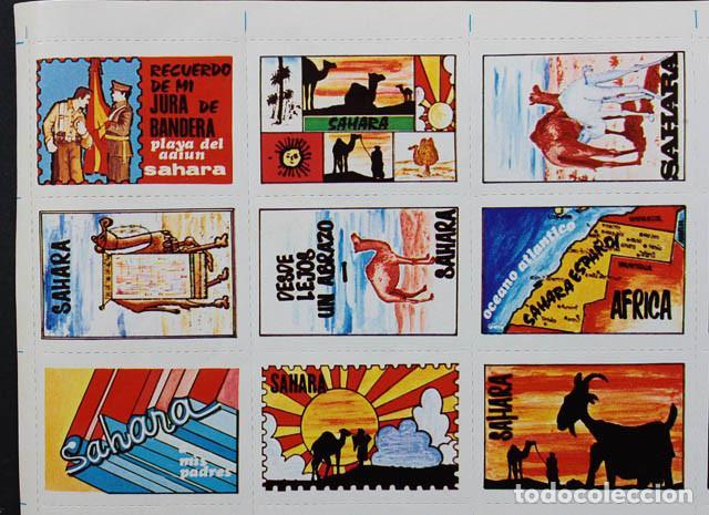 Sellos: PLIEGO HOJA CON 30 VIÑETAS SAHARA ESPAÑOL 1973 ¿RECUERDO JURA BANDERA MILI? 19 X 31CM VIÑETA AAIUN - Foto 2 - 104715215
