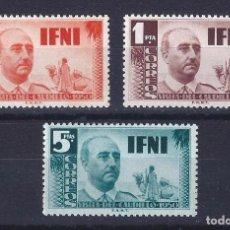 Sellos: EDIFIL 73-75. IFNI. VISITA DEL GENERAL FRANCO 1951 (SERIE COMPLETA). MH *. Lote 104804563
