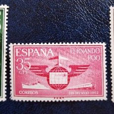 Sellos: FERNANDO POO DIA DEL SELLO SERIE 3 VALORES 1962 COMPLETA SELLOS NUEVOS. Lote 105615971