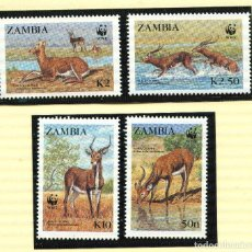 Sellos: ZAMBIA 1987 MI 438 A 441 4 SELLOS MNH + 4 FDC + 4 TARJETAS MAXIMAS WWF. Lote 106682603