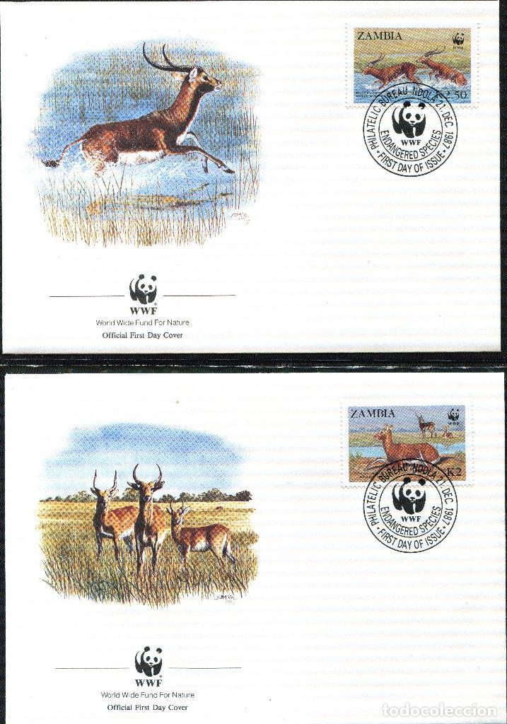 Sellos: ZAMBIA 1987 Mi 438 a 441 4 sellos MNH + 4 FDC + 4 tarjetas maximas WWF - Foto 3 - 106682603