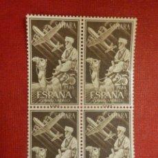 Sellos: SELLO - ESPAÑA - SAHARA - EDIFIL 189 - INDÍGENA Y AVION EN VUELO - 25 PTAS - 1961 -SERIE BLOQUE DE 4. Lote 109394487