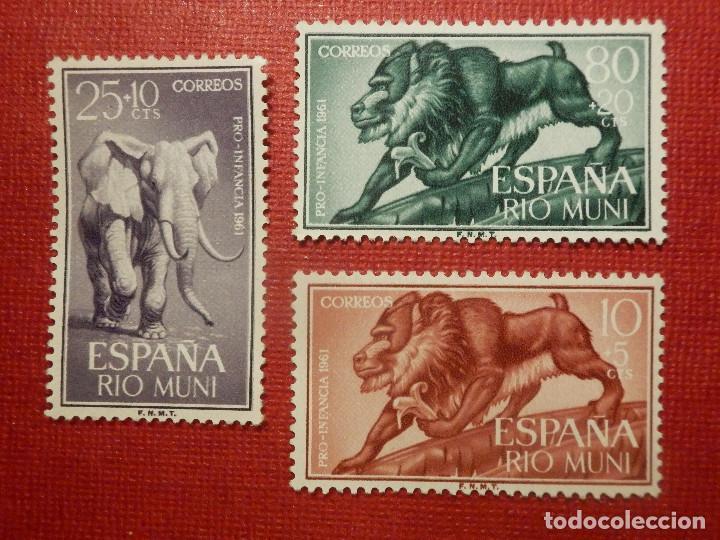 SELLO - CORREOS - ESPAÑA - RIO MUNI - EDIFIL 18, 19 Y 20 - PRO INFANCIA - 1961 - SERIE (Sellos - España - Colonias Españolas y Dependencias - África - Río Muni)