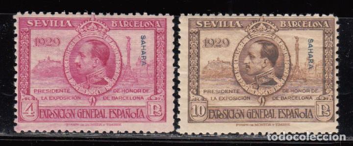 SAHARA , 1929 EDIFIL Nº 34 , 35 / ** / , EXPOSICIÓN DE SEVILLA (Sellos - España - Colonias Españolas y Dependencias - África - Marruecos)