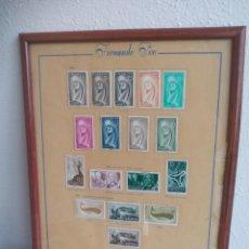 Sellos: FERNANDO POO 1960 CUADRO CON HOJA CON 17 SELLOS ENMARCADOS. VIRGEN PRO INFANCIA FALLA, DIA SELLO. Lote 115536131