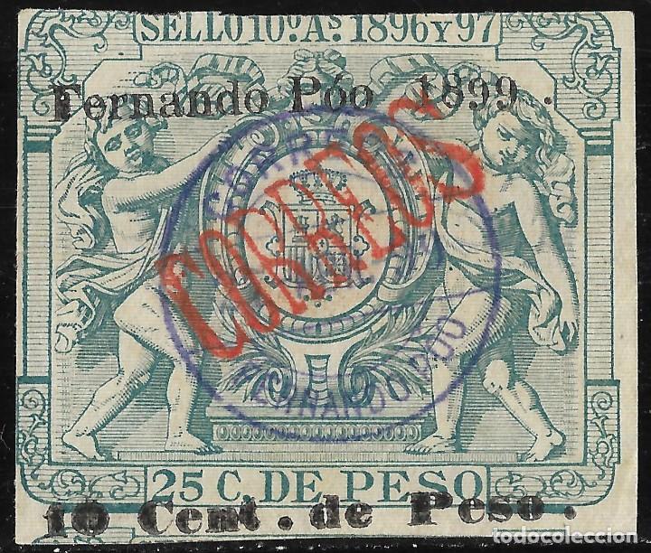 COLONIAS ESPAÑA FERNANDO POO . PÓLIZA DE 1896-1897 HABILITADA.TIPO B EDIFIL 47 F (Sellos - España - Colonias Españolas y Dependencias - África - Fernando Poo)
