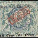 Sellos: COLONIAS ESPAÑA FERNANDO POO . PÓLIZA DE 1896-1897 HABILITADA.TIPO B EDIFIL 47 F. Lote 116829019