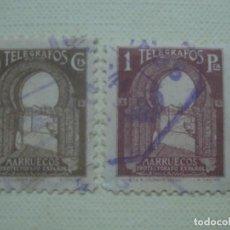 Sellos: MARRUECOS ESPAÑOL. TELÉGRAFOS 1938. EDIFIL 43 Y 46. USADOS. Lote 118589919