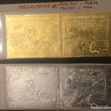 Sellos: SELLOS MAURITANIA 144/45 PLATA 146/47 ORO. Lote 118594303