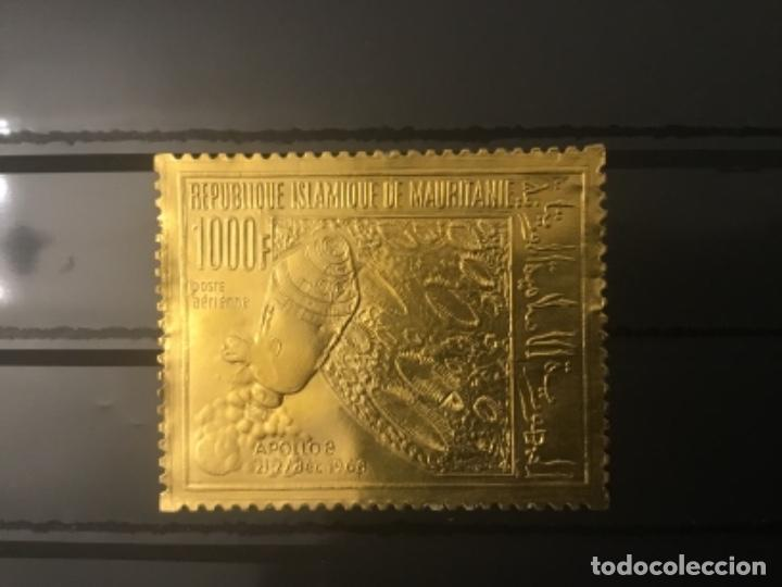MAURITANIA: 1969 APOLO 8 1000F EN RELIEVE EN ORO FOIL-SG 335 MNH PERFECTO (Sellos - España - Colonias Españolas y Dependencias - África - Otros)