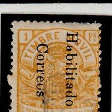 Sellos: GUINEA ESPAÑOLA - FISCALES-TIMBRE MOVIL - HABILITADO CORREOS USADO CON FIJASELLOS . Lote 120668239