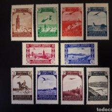 Sellos: MARRUECOS. EDIFIL 186/95. SERIE COMPLETA NUEVA CON CHARNELA. PAISAJES. 1938.. Lote 182095977