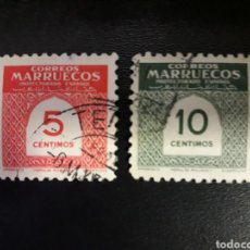 Sellos: MARRUECOS. EDIFIL 382/3. SERIE COMPLETA USADA. CIFRAS. 1953. PEDIDO MÍNIMO 3 €. Lote 122323699