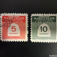 Sellos: MARRUECOS. EDIFIL 382/3. SERIE COMPLETA USADA. CIFRAS. 1953.. Lote 122323787