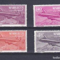 Sellos: MARRUECOS AÑO 1956 CUATRIMOTOR CONSTELACION EDIFIL Nº 9 A 12 * * (NUEVOS) AVION-PLANE. Lote 195464527
