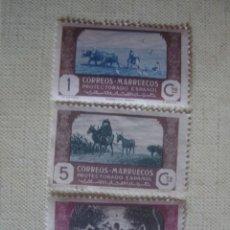 Sellos: MARRUECOS ESPAÑOL 1944. EDIFIL 246, 248 Y 251. AGRICULTURA. 2 X MNH, 1 X MH. Lote 126441235