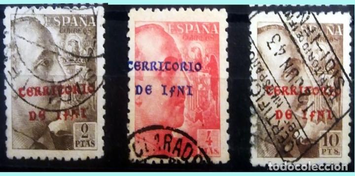 Sellos: SERIE DE CIFRAS, CID y GRAL. FRANCO MATASELLADA Y CON SOBRECARGA -TERRITORIO de IFNI - - Foto 2 - 131190913
