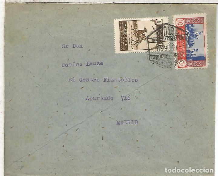 TETUAN 1950 CC CORREO AEREO A MADRID MAT HEXAGONAL (Sellos - España - Colonias Españolas y Dependencias - África - Marruecos)