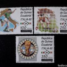 Sellos: GUINEA ECUATORIAL. EDIFIL 123/5. COMPLETA NUEVA SIN CHARNELA. DEPORTES. MUNDIAL FÚTBOL ITALIA 90. Lote 134742226