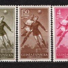 Sellos: GUINEA ESPAÑOLA 350/54* - AÑO 1955 - DEPORTES - FUTBOL. Lote 134944342