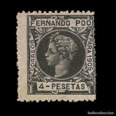 Sellos: FERNANDO POO 1905 ALFONSO XIII. 4P VERDE BRONCE. NUEVO EDIFIL Nº149 NUMERACIÓN 000 000.. Lote 138085538