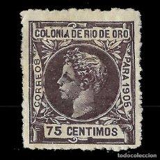 Sellos: RÍO DE ORO. 1905. ALFONSO XIII.75C VIOLETA. NUEVO. EDIF. Nº 10. Lote 138300278