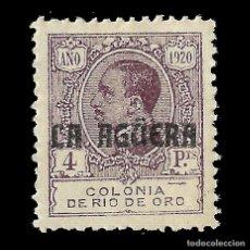 Sellos: LA AGÜERA. 1920.SELLOS DE RIO DE ORO. 4P.VIOLETA. NUEVO. EDIF. Nº12 Nº 000 000.. Lote 138984150