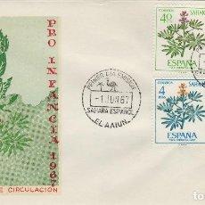 Sellos: SAHARA Nº 265/9 , 1967 -PRO INFANCIA , FLORA - SOBRE PRIMER DIA SPD / FDC EX COLONIAS .. Lote 139849778