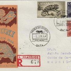 Sellos: RIO MUNI , 1964 - FAUNA . CIRCULADO - SOBRE PRIMER DIA SPD / FDC EX COLONIAS .. Lote 139858738