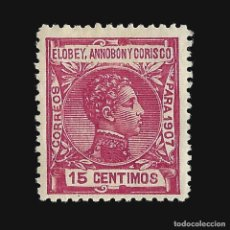 Sellos: ELOBEY ANNOBÓN CORISCO 1907.ALFONSO XIII. 15C.CARMÍN. NUEVO**. EDIF.Nº 41. Lote 140913394