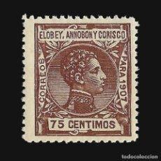 Sellos: ELOBEY ANNOBÓN CORISCO 1907.ALFONSO XIII. 75C.CASTAÑO ROJO. NUEVO**. EDIF.Nº 44. Lote 140915942