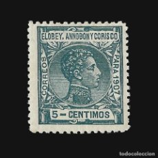 Sellos: ELOBEY ANNOBÓN CORISCO 1907.ALFONSO XIII. 5C. VERDE AZUL. NUEVO*. EDIF.Nº 39. Lote 140934222