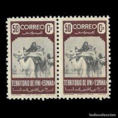 Sellos: IFNI 1947.FAMILIA NÓMADA.50C. CASTAÑO VIOLETA. BLOQUE DE 2.NUEVO***. EDIF.Nº36. Lote 141564970