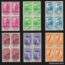 Sellos: 1943. CABO JUBY. BENEFICENCIA.SERIE COMPLETA. BLOQUES DE 4 NUEVO*** EDIF.Nº 12-17. Lote 141662834