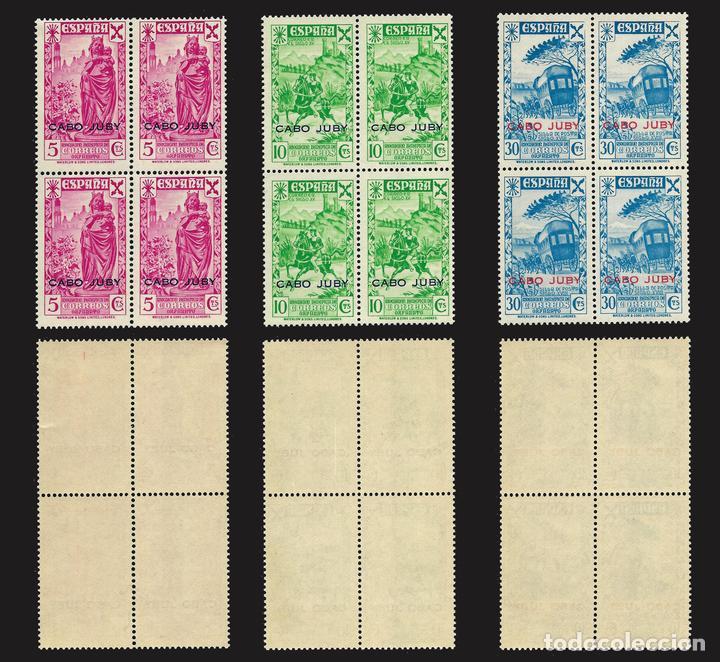 Sellos: 1943. CABO JUBY. BENEFICENCIA.Serie completa. Bloques de 4 Nuevo*** Edif.nº 12-17 - Foto 2 - 141662834