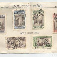 Sellos: TARJETA SERIE COMPLETA BENEFICENCIA TANGER 1947-MARRUECOS ESPAÑOL EDIFIL 61/66. Lote 141830698
