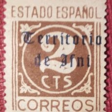 Sellos: IFNI. 1948-49, SELLOS DE ESPAÑA HABILITADOS. 2 CTS. CASTAÑO (N.º 37 EDIFIL).. Lote 142397378