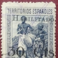 Sellos: GUINEA. 1937-38, TIPOS DIVERSOS, SELLOS HABILITADOS. 30 CTS. SOBRE 40 CTS. (N.º 251 EDIFIL).. Lote 142430586