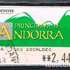 Sellos: ANDORRA, ETIQUETA DE VALOR VARIABLE, MONTAÑAS, USADO. Lote 142710590