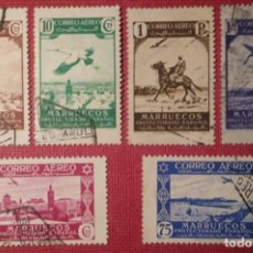 Sellos: MARRUECOS. 1938, PAISAJES, CORREO AÉREO. 6 VALORES SUELTOS (Nº 186-187 Y 190-193 EDIFIL).. Lote 143074858