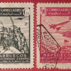 Sellos: MARRUECOS. 1942, PAISAJES Y AVIÓN EN VUELO. 2 VALORES SUELTOS (Nº 243-244 EDIFIL).. Lote 143078918