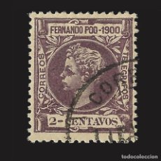Sellos: FERNANDO POO 1900 ALFONSO XIII. 2CT. LILA. USADO. EDIFIL Nº80.. Lote 143154382