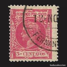 Sellos: FERNANDO POO 1900 ALFONSO XIII.3 CT. ROSA. USADO. EDIFIL Nº81.. Lote 143154534