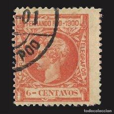 Sellos: FERNANDO POO 1900 ALFONSO XIII. 6CT. ROJO NARANJA. USADO. EDIFIL Nº84.. Lote 143155050