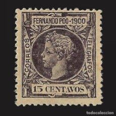 Sellos: FERNANDO POO 1900 ALFONSO XIII. 15CT. VIOLETA OSCURO.NUEVO* EDIFIL Nº87.. Lote 143155666